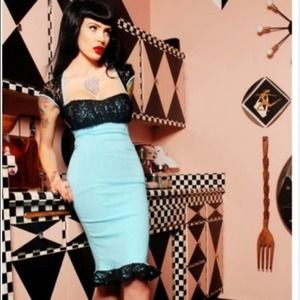 PINUP COUTURE Black Lace wiggle dress X-small XS